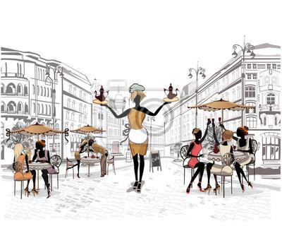 Ludzie Moda w kawiarni ulicy.