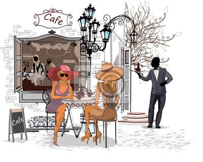 Ludzie Moda w kawiarni ulicy w mieście.