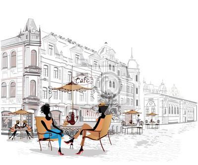 Ludzie mody w ulicy kawiarni. Ulica kawiarnia z kwiatami w starym mieście. R? Cznie rysowane ilustracji.