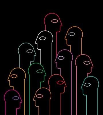 Fototapeta Ludzie sylwetki neon