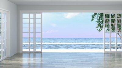 Fototapeta Luksus pusta izbowa wewnętrzna willa z drewnianą podłoga, powietrzny dennego widoku 3d ilustracyjny wakacje letni