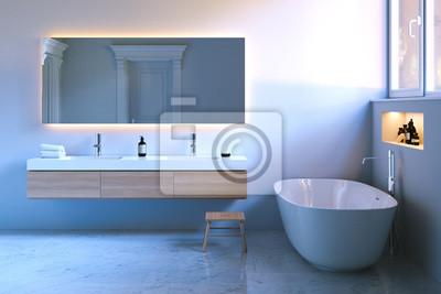 Luksusowa łazienka Z Oknem I Marmurową Podłogą 3d Render Fototapety Redro