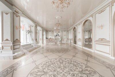 Fototapeta Luksusowe wnętrza vintage z kominkiem w stylu arystokratycznym. Duże okna i lustra. Kolumny i łuki, ornament na błyszczącej podłodze