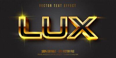 Fototapeta Lux text, shiny gold style editable text effect