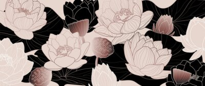 Fototapeta Luxurious rose gold background design with golden lotus. Lotus flowers line arts design for wallpaper, natural wall arts, banner, prints, invitation and packaging design. vector illustration.