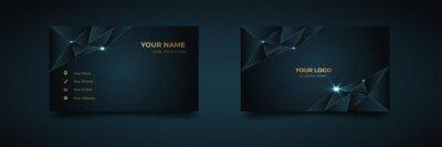 Fototapeta Luxury and elegant dark black navy business card design with gold style minimalist print template