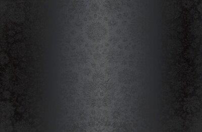 Fototapeta Luxury black metal gradient background with distressed fabric, textile texture. Ornamental floral pattern