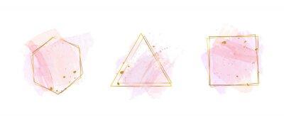 Fototapeta Luxury Gold invite frame design vector. Invitation design for wedding, VIP Invitation card, Image frame, wall art decoration. Water color frame design. vector illustration.