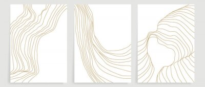 Fototapeta Luxury gold line art background vector. Minimalist modern contour drawing. contemporary abstract art design for wall art, wallpaper, home decoration, cover, printable painting. Vector Illustration.