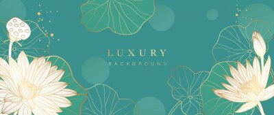 Fototapeta Luxury gold lotus background vector. Zen wallpaper collection with golden lotus line art. Design for yoga banner, Luxury cover design and invitation, invite, banner, Natural product packaging design.