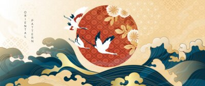 Fototapeta Luxury gold oriental style background vector. Chinese and Japanese oriental line art with golden texture. Wallpaper design with Cherry blossoms flower and Flamingo. Red sun, Ocean and wave wall art.