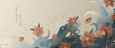 Fototapeta Luxury gold oriental style background vector. Chinese and Japanese oriental line art with golden texture. Wallpaper design with Cherry blossoms flower and Ocean and wave background.