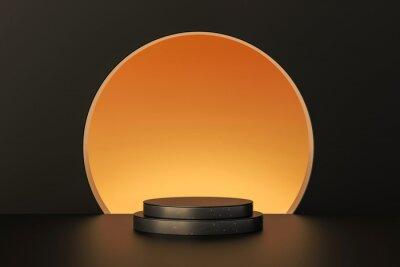 Fototapeta Luxury gold product backgrounds stage or blank podium pedestal on elegance presentation display backdrops. 3D rendering.