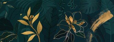 Fototapeta Luxury green summer background and wallpaper vector with golden metallic decorate wall art