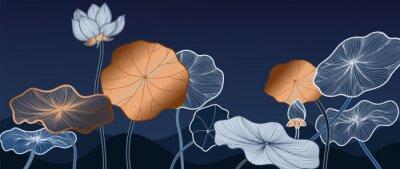 Fototapeta Luxury Lotus background vector with golden metallic decorate