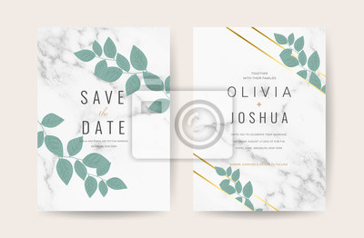Luxury Marble Wedding Invitation Card Design For Spring And Summer Fototapety Redro