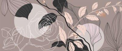 Fototapeta Luxury Rose background vector with golden metallic decorate