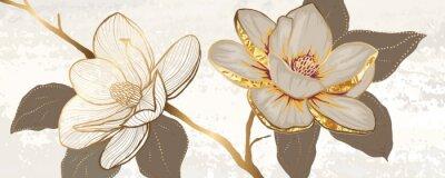 Fototapeta Luxury white magnolia foil metallic background vector with golden metallic home decorate wall art