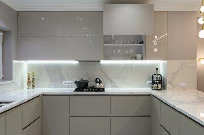 Fototapeta Luxury white modern marble kitchen in studio space
