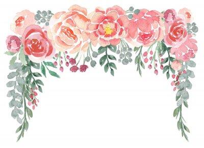 Fototapeta Luźny akwarelowy kwiatowy spadek z piwonie