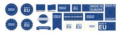 Fototapeta Made in Europe set flat icon for banner design. Isolated vector