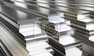 Fototapeta Magazyn płyt aluminiowych. Walcowane wyroby metalowe. 3d ilustracja.