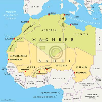 Fototapeta Maghrebu I Sahelu Mapa Polityczna Na Wymiar Kraj