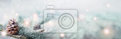 Fototapeta Magia Zimowy krajobraz w czasie Świąt Bożego Narodzenia - Panorama, Banner, Tła