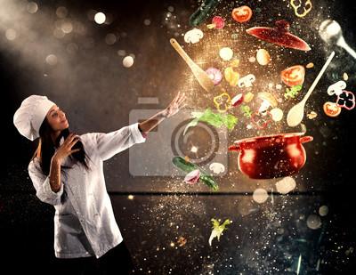 Fototapeta Magiczny kucharz gotowy do gotowania nowego naczynia