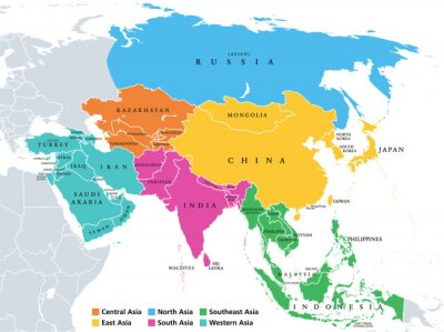 Fototapeta Main regions of Asia. Political map with single countries. Colored subregions of the Asian continent. Central, East, North, South, Southeast and Western Asia. English labeled. Illustration. Vector.