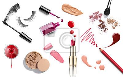 Fototapeta make up beauty lipstick nail polish liquid powder mascara pencil