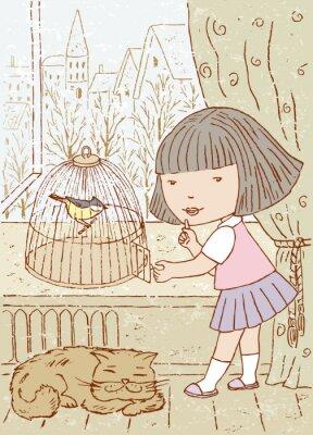 Fototapeta mała dziewczynka i ptaka