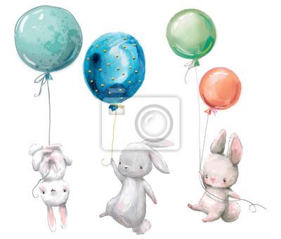 Fototapeta Mała śliczna zając kolekcja lata z balonem.