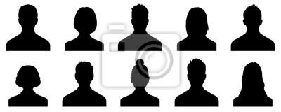 Fototapeta Male and female head silhouettes avatar, profile icons. Vector