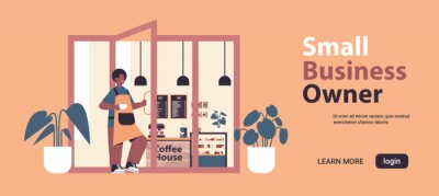 Fototapeta male barista in uniform working in modern coffee house waiter in apron holding door small business owner concept horizontal full length copy space vector illustration