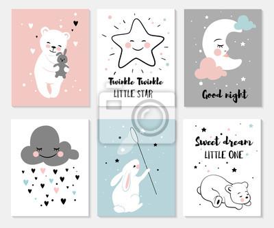 Fototapeta Małe niedźwiedzie, króliki, księżyc i gwiazdy, słodkie zestawy znaków, plakaty do pokoju dziecięcego, karty okolicznościowe, koszulki dziecięce i dziecięce oraz odzież