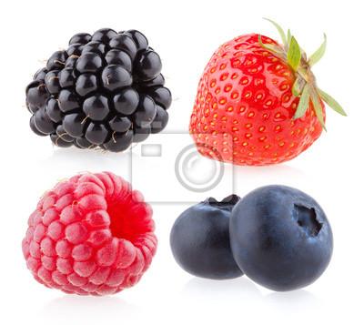 Fototapeta maliny, truskawki, jagody i jeżyny