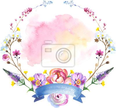 Malowane kwiaty wieniec kwiaty w stylu akwareli z wstążką. Holiday wieniec na białym tle. Sztuka może być używany do tatuażu, Zaproszenia, pokrowce, notebooków lub plakatu.
