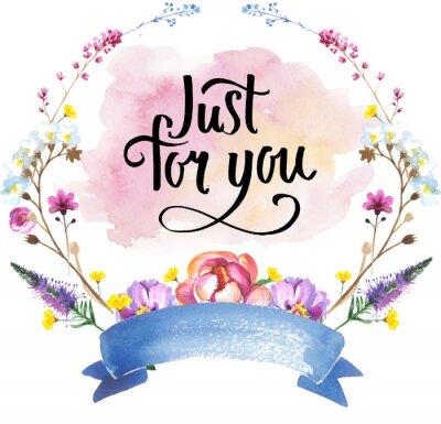 Malowane kwiaty wieniec kwiaty z pisma w stylu akwareli. Holiday wieniec na białym tle. Sztuka może być używany do tatuażu, Zaproszenia, pokrowce, notebooków lub plakatu.