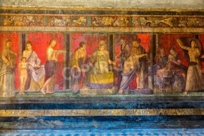 Fototapeta Malowane ściany w mieście Pompei zniszczone w 79BC przez wybuch Wezuwiusza