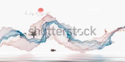 Fototapeta Malowanie tuszem, artystyczny krajobraz, abstrakcyjne linie tła