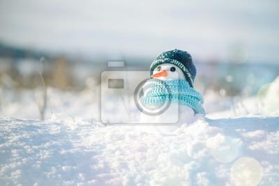 Fototapeta Mały bałwan w czapce i szalik na śniegu w zimie. Kartka bożonarodzeniowa z uroczym bałwanem, kopii przestrzeń