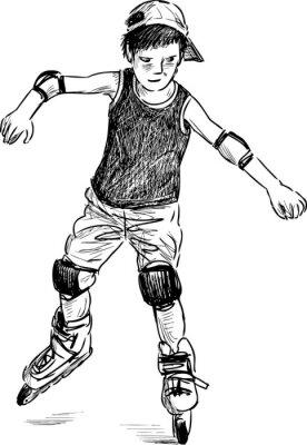 Fototapeta mały chłopiec na rolki łyżwy