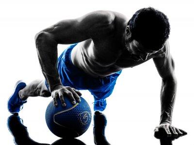 Fototapeta man exercising fitness weights exercise silhouette