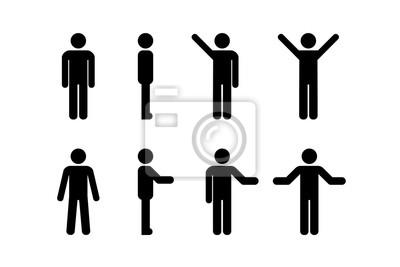 Fototapeta Man standing set, stick figure human. Vector illustration, pictogram of different human poses on white