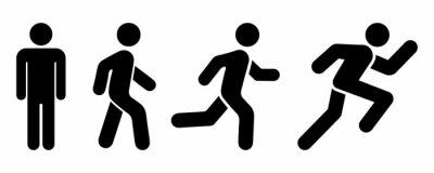 Fototapeta Man stands, walk and run icon set. People symbol. Person standing, walking and running illustration. Run, walk, stand. Vector illustration