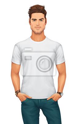 Fototapeta Man Wearing a Blank White T-Shirt