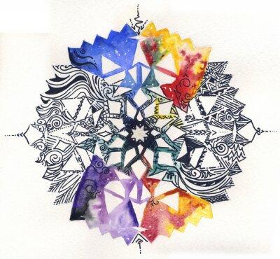 Fototapeta Mandala dipinto mano: acquerelli długopis e tratto-nero