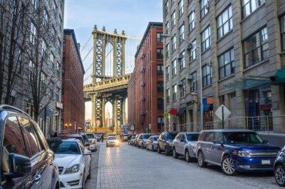 Fototapeta Manhattan Bridge z Brooklyn na zimowe popołudnie