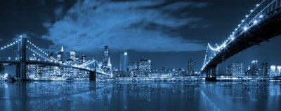 Fototapeta Manhattan i Brooklyn Bridge w nocy widok